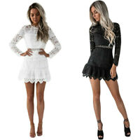 Women's Summer Casual Solid Lace Long Sleeve Evening Party Cocktail Mini Dress