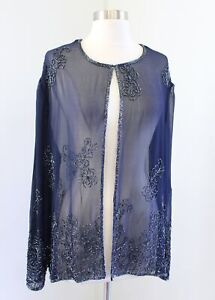 Scala Navy Blue Sheer Sequin Beaded Evening Party Formal Jacket Size 1X 1XL