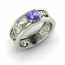 Three Stone Engagement Ring with 0.66 Cttw Tanzanite in Solid 14k White Gold