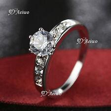 18K WHITE GOLD GF SIMULATED DIAMOND WEDDING BAND ENGAGEMENT RING CLASSIC