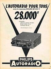 PUBLICITE ADVERTISING 124  1956  PHILIPS  auto-radio    NF 344 V