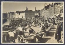 Fish Sellers, Gammel Strand COPENHAGEN. 1930s Real Photo PC. Free UK Postage
