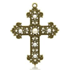 2pcs Antique Bronze Plated Cross Alloy Acrylic Pearl Big Pendants Jewelry Charms