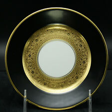 Faberge Empire Noir et Or Bread & Butter Plate Limoges Porcelain China 24k Gold