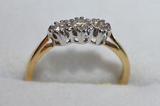 second hand 18 ct yellow gold diamond three 3 stone ring size K reduced sale