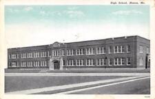 """MACON, MO  Missouri     HIGH SCHOOL       1949 Curteich """"Blue Sky"""" Postcard"""