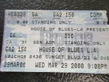 DIO concert Comp ticket stub House of Blues Mar 29 2000