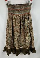 Fun & Flirt Womens Skirt Boho Hipster Paisley Brown Size Medium