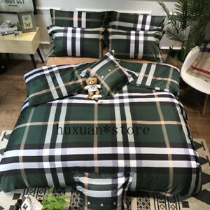 Luxury Egypt Cotton Lattice Fashion Classic Bedding Set Silky Duvet Cover  Sheet