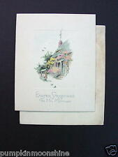 Unused Vintage Easter Greeting Card Pretty English Country Cottage & Flowers