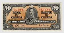 Gordon/Towers $50 Canada, 1937 Gordon/Towers signatures; Charlton #BC-26b AU