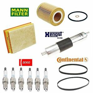 Tune Up Kit Air Oil Filter Spark Plugs Belts for BMW 325xi E46 2001-2002
