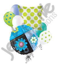 7 pc Happy Birthday Turquoise Flowers Balloon Bouquet Decoration Flower