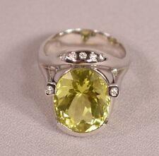 Unique Lemon Citrine Diamonds 18K White Gold Designer Signed Ring
