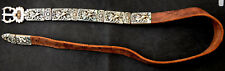 Vintage Asian Hand Made Sterling Silver and Leather Belt