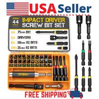 """[43PC] 1/4""""Hex Shank Hi-Spec Impact Driver Screw Bits Set Drill Driver Torx Kit"""