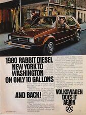 1980 VW Volkswagen Rabbit Diesel Vintage Original Print Ad