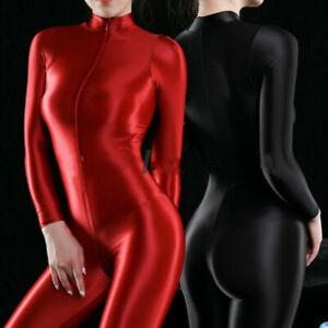 Women Sexy Shiny Bodysuit Catsuit Leotard 2 Way Zipper Silky Playsuit Clubwear N