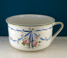 BEAUTIFUL CHAMBER POT/SLOP JAR HANDPAINTED BLUE RIBBONS & PINK ROSES EUROPEAN?