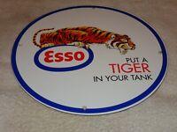 """VINTAGE ESSO PUT A TIGER IN UR TANK 11 3/4"""" PORCELAIN METAL GAS SIGN! PUMP PLATE"""