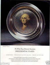1972 PAPER AD George Washington Franklin Mint White House Presidential Plates