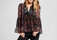 KNOX ROSE Women's Long Sleeve Velvet Trim Sheer Peasant Top Blouse BLACK  XS