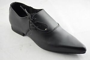 Steel Ground Shoes Black Leather Side Lace Up Winklepicker Casual Shoes Sb017Z92