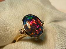 Opal Ring Ladies 14ct Yellow Gold & Diamond 13 x 9mm Oval Shape Triplet. #90571.
