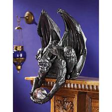 Medival Beast Statue Shelf Sitter Gothic Guardian Orb Winged Gargoyle Sculpture