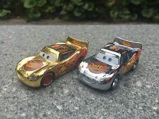 Disney Pixar Cars Lightning McQueen Gold Silver 2pcs Metal Cars Set New Loose