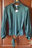 Object Objalina Ladies V-Neck Blouse, Long Sleeve, Green, Size UK 10, BNWT