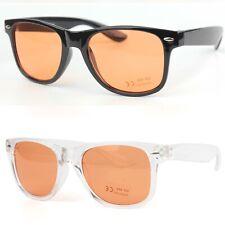 Classic Square Sunglasses Orange Tinted Transparent Lenses Womens Mens UV400