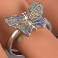 Butterfly Lavender Purple Fire Opal Silver Jewelry Cocktail Ring Size 6 7 8 9 10