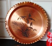Signed Copper Plate with Birds Flying Images -JANTONY-MADE CANADA.D-30cm/W-430g