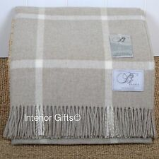 BRONTE Lambswool BEIGE CREAM CHECK THROW Windowpane Blanket Merino Pure New Wool