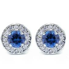 5/8ct Halo бриллиантовый голубой сапфир шпильки 14K белое золото