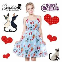 Sourpuss Clothing Cat Lady Blue Stacey Martin-Smith Doll Baby Dress Size S