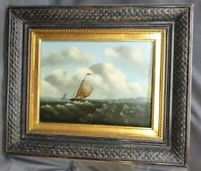 Antique Old Seascape Nautical Boat Ship Ocean Oil Painting on Canvas Framed Art