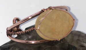 Golden Healer Quartz Wirewrapped Bracelet On Pure Copper