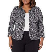 $139 Anne Klein Women's Plus Knit Jacquard Open Front Jacket Gray Size 0X