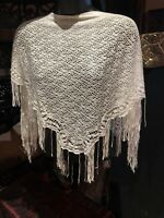 Vintage Victorian Style Antique White Triangle Poncho Scarf Wrap Shawl