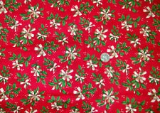 """48"""" x 42"""" cotton fabric Cranston VIP red with green holly & cream bow"""