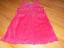 Size 5 OshKosh Osh Kosh Pink Velour Jumper Dress Floral Flower Embroidery EUC