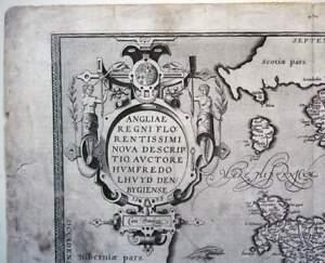 BRITAIN 1573 MAP ORTELIUS GENUINE OLD BRITISH RARE ANTIQUE PRINT 16th ENGRAVING