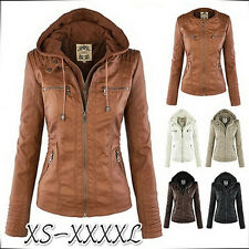 New Women's Slim PU Leather Jacket Removable Zipper Coats Outwear Hooded Blazer