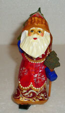 """FATHER FROST~Russian SANTA CLAUS~Handcarved~4.5""""~Handpainted~WOOD~VERY CUTE"""