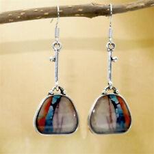 Bag/Lock Vintage Turquoise Stone Boho Long Charm Hook Drop Dangle Earrings Gift