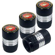 4 Black Billet Contrast Cut Knurled Tire Air Valve Stem Caps - USMC MARINE CORPS