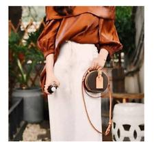 Women's Canvas Leather Mini Round Purse Crossbody Luxury Designer Style Logo Bag