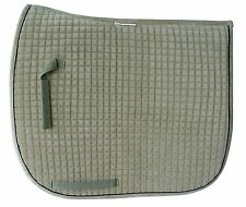 PRI Dressage Couture Velvet Dressage Pad: Quilted w/Piping  Olive/Black